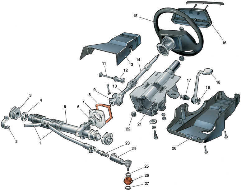 3 – опора рулевого механизма;