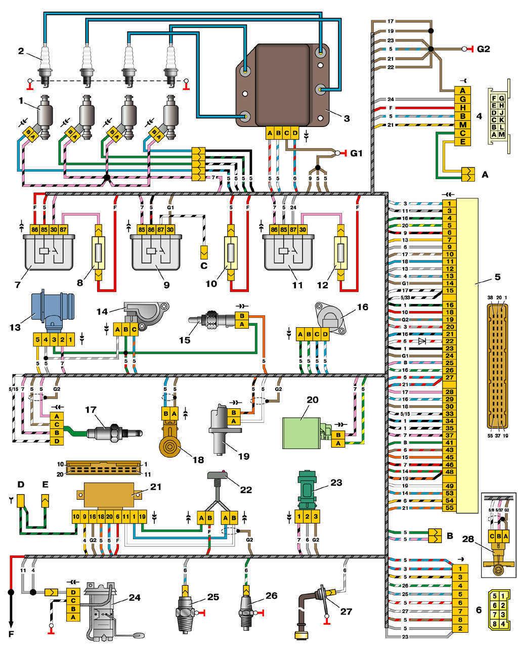 Схема электронного управления двигателем ваз
